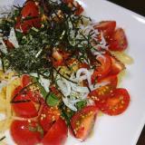 食欲ススム☆トマトと大葉のしらすの冷製パスタ