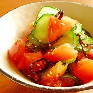 きゅうりとトマトの塩昆布和え