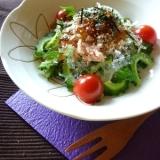 ゴーヤとツナと新玉葱のプチプチサラダ