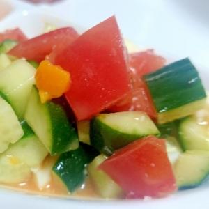 きゅうりとトマトの彩りサラダ