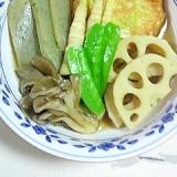 笹の子、キャベツ天の煮物