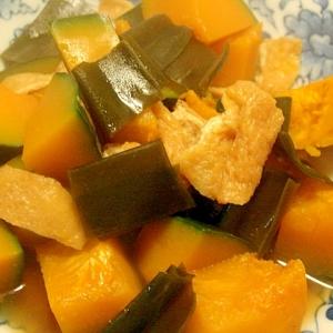南瓜と昆布、あげの煮物