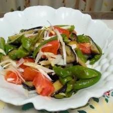 揚げナス揚げピーマンのサラダ