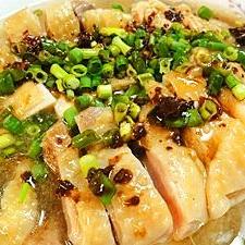 蒸し鶏の黒酢タレ