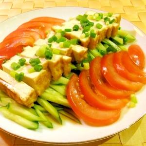 厚揚げときゅうりとトマトの簡単サラダ