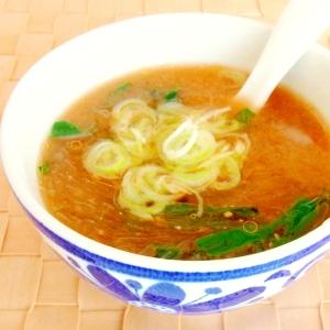 ニラ入り辛味噌春雨スープ