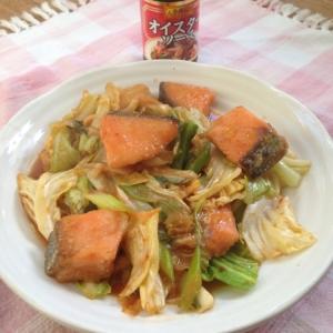 紅鮭とキャベツの中華風味噌炒め♪