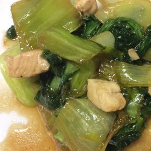チンゲン菜と鶏肉のオイスターソース炒め