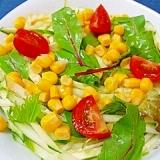 【お手伝いレシピ】きゅうりとベビーリーフのサラダ♪