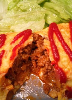 お肉たっぷりハンバーグ☆オムレツ