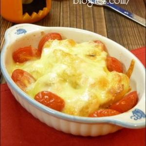 みんな大好き♪完熟トマトと明太子のポテトグラタン