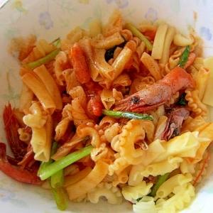 葱と海老のナポリタンマカロニ