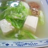 豆腐蓮根キャベツコンソメスープ