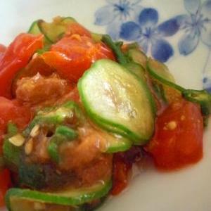 おくらとトマトときゅうりのポン酢サラダ