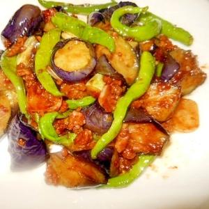 茄子と伏見とうがらし、挽肉の中華みそ炒め