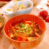 豆腐とエノキとワカメの赤だし味噌汁♪