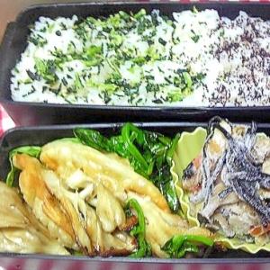 お弁当に舞茸とほうれん草の炒め物