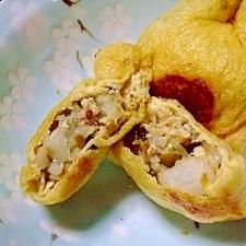 辛子高菜と崩し山芋にキノコの油揚げの包み焼き