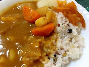 十六穀米のカレーライス