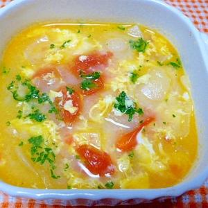 玉ねぎとトマトの卵スープ