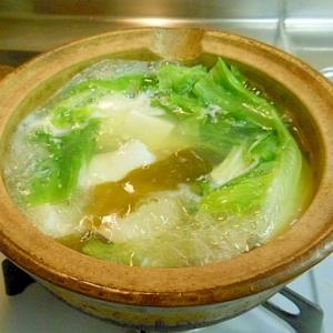 鱈と豆腐、レタスの鍋もどき