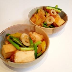 厚揚げとニンニクの芽の味噌マヨ炒め