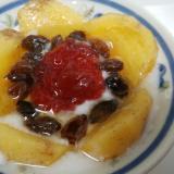 ♥柿とレーズンとイチゴジャムの蜂蜜ヨーグルト♥