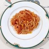 トマトソースを使って、海老とスイートコーンのパスタ