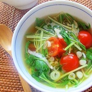 簡単♪水菜とエビとトマトの中華風スープ