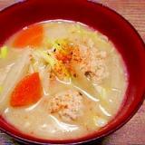 野菜たっぷり☆おからパウダー入り肉団子汁