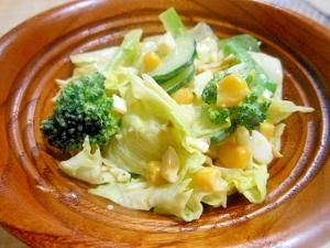 レタス、きゅうり、ブロッコリーサラダ