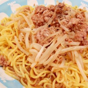 流水麺と電子レンジで(^^)ひき肉ともやしの冷麺♪