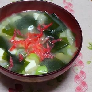 わかめと豆腐とネギと桜海老の味噌汁☆
