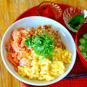 鮭と卵と納豆のどんぶり