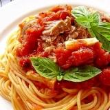 ツナときのこのトマトソース・スパゲティ