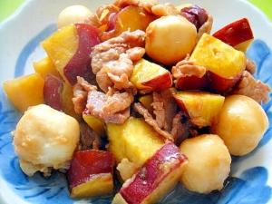 里芋とさつまいも豚肉の甘辛煮