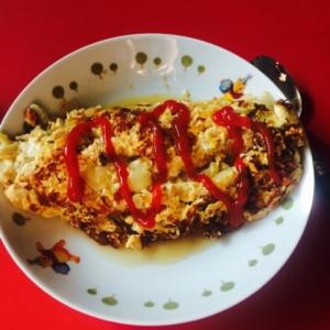豆腐でボリュームアップのオムレツ