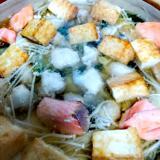 鮭と厚揚げこんがり★塩麹鍋