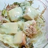超簡単☆蒸し野菜と鮭のとろとろチーズのせ
