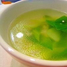 塩鶏の茹で汁でえのきと青梗菜のスープ