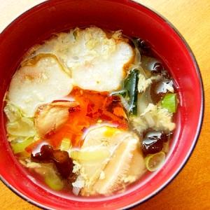 フリーズドライ卵スープを中華スープに♪(ネギ他)