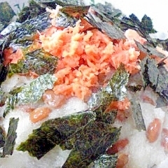 納豆の食べ方-鮭おろし♪