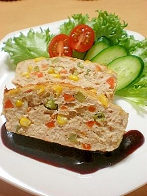 鶏&豚◆彩り野菜のミートローフ☆子どもも喜ぶ^^