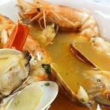 簡単、赤海老とアサリのスープ