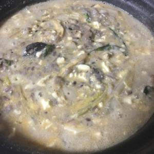 豆乳鍋で豆腐の雑炊