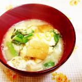 パンの耳入り♪小松菜のかきたまお味噌汁