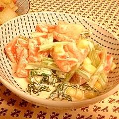 小松菜、コーン、トマトのマヨサラダ