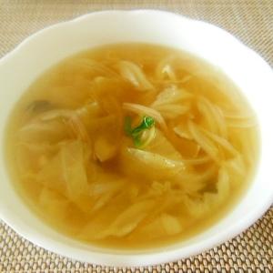 キャベツと鶏ハムとしいたけのスープ♪