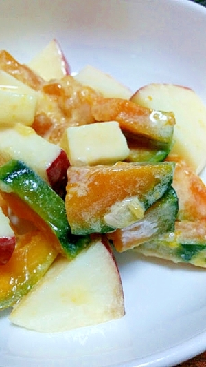 かぼちゃのサラダ,柚子茶ドレッシング和え