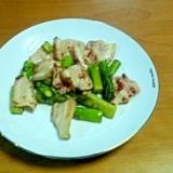 アスパラガスと豚肉の鶏がらだし炒め